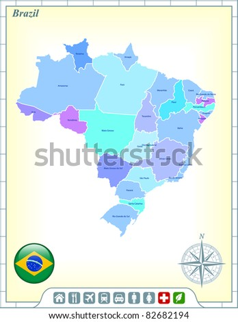 Brazil Map with Flag Buttons and Assistance & Activates Icons Original Illustration