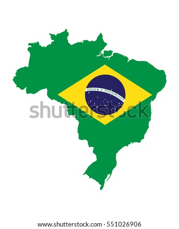 Brazil Map with Flag Vector