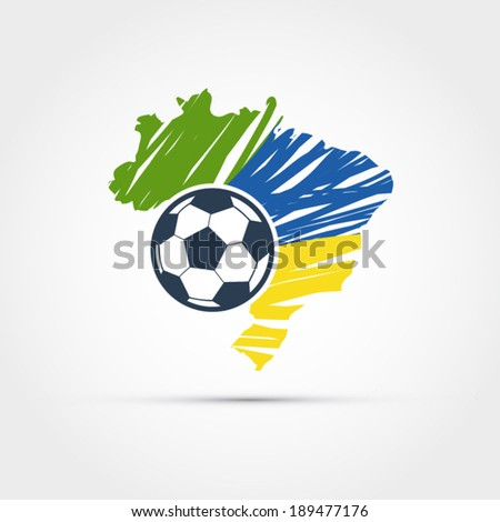 brazil map with soccer ball