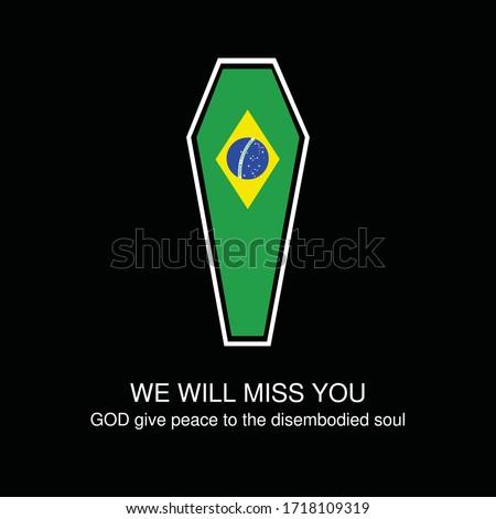 brazil national flag on coffin