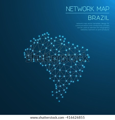 Brazil network map. Abstract polygonal map design. Internet connections vector illustration.
