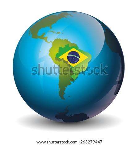 brazil on globe icon