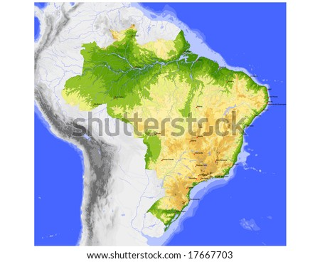 Brazil. Physical vector map, colored according to elevation, with rivers, ocean depths and selected cities. Surrounding territory greyed out. 32 layers, fully editable. Data source: NASA
