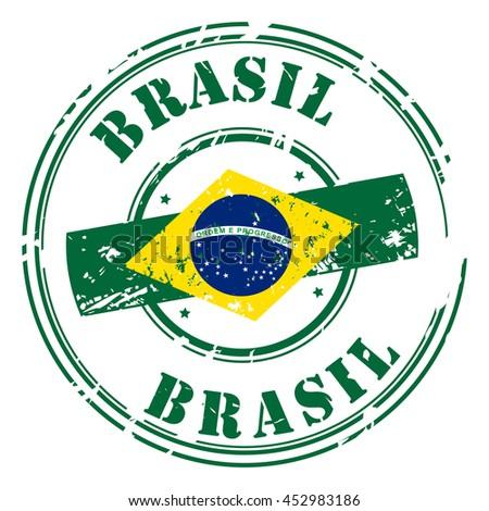 brazil postal grunge stamp