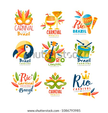 Brazil, Rio Carnival logo design set, bright fest.ive party banner with masquerade masks, maracas, toucan, musical instruments vector Illustration on a white background