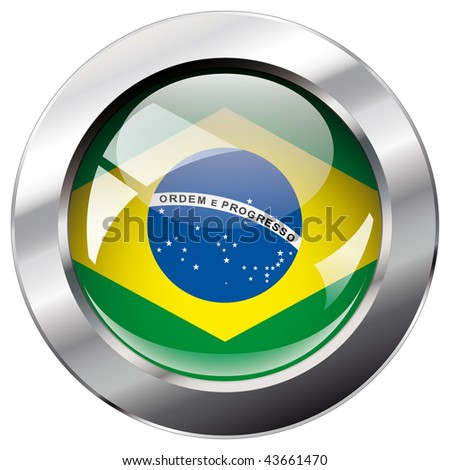 brazil shiny button flag vector illustration. Isolated abstract object against white background.
