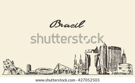 brazil skyline  vintage vector...