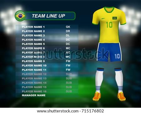 brazil soccer jersey kit with