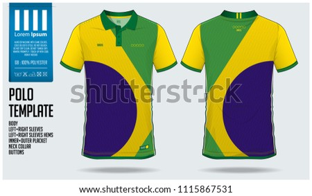Brazil Team Polo t-shirt sport template design for soccer jersey, football kit or sportwear. Classic collar sport uniform in front view and back view. T-shirt mock up for sport club. Vector.