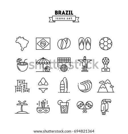 Brazil, thin line icons set, vector illustration