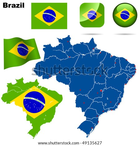 Brazil vector set. Detailed country shape with region borders, flags and icons isolated on white background.