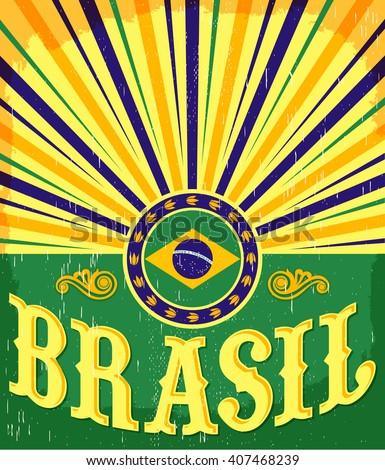 Brazil vintage patriotic poster - card vector design, brazilian holiday decoration Foto stock ©