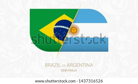 Brazil vs Argentina, Semi-finals of Football competition. Vector illustration.