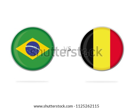 b934e53f7 Brazil vs Belgium. Flag in a Circle. Button Vector. White Background.  Football