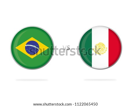 Brazil vs Mexico. Flag in a Circle. Button Vector. White Background. Football Competition.