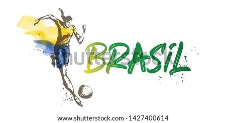 Brazil Women's Soccer National Team Vector Design. Female Player Running. Typographic Layout. Lettering Sport Logo. Foto stock ©