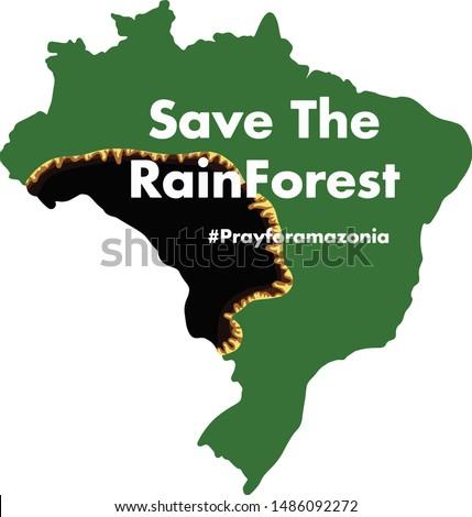 Brazilian Amazon Forest burning  Save the rainforest illegal  deforestation map illustration vector isolated prayforamazonia