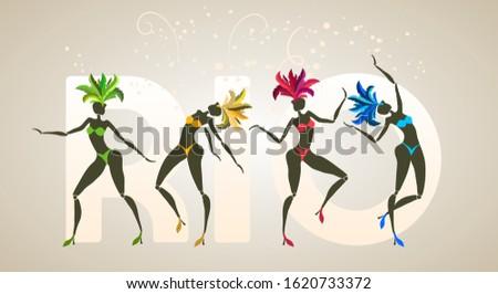 Brazilian carnival banner, silhouettes of four dancing girls, traditional samba festival, vector template