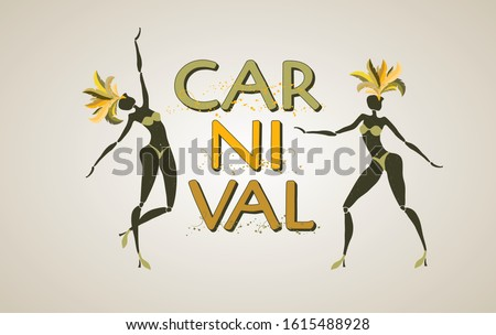 Brazilian carnival banner, silhouettes of two dancing girls, tradition samba  festival, vector template