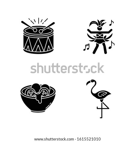 Brazilian carnival black glyph icons set on white space. Traditional music. Arancini. Festive drum parade. National festival. Samba. Local cuisine. Silhouette symbols. Vector isolated illustration