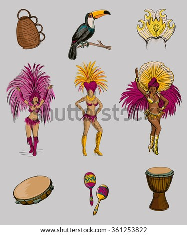 brazilian carnival hand drawn