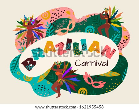 Brazilian Carnival Text with Samba Women Dancer and Party Mask on Colorful Abstract Pattern Background.