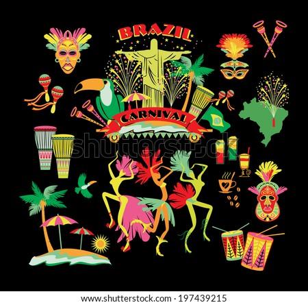 brazilian carnival vector icon