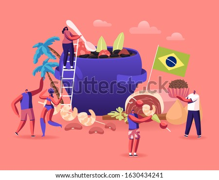 Brazilian Cuisine Concept. Tiny Male and Female Characters and Typical Brazil Dishes Feijoada Stew of Beans with Beef and Pork, Truffle Candy Brigadeiro, Fried Shrimps. Cartoon Vector Illustration