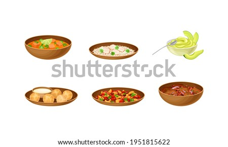 Brazilian Cuisine Dishes with Stewed Beans, Feijoada and Salmon Soup Vector Set Foto stock ©