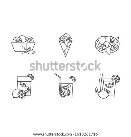 Brazilian cuisine pixel perfect linear icons set. Arancini. Caipirinha. Alcoholic beverage with lime. Customizable thin line contour symbols. Isolated vector outline illustrations. Editable stroke