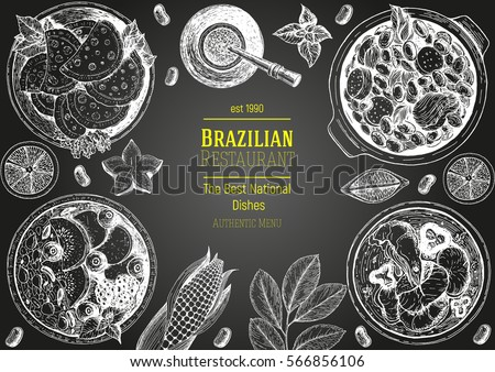 Brazilian cuisine top view frame. Brazilian food menu design. Vintage hand drawn sketch vector illustration