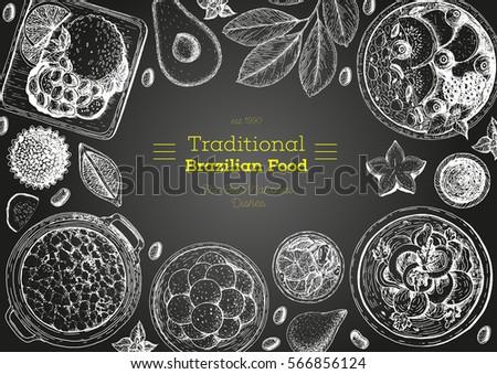 Brazilian cuisine top view frame. Brazilian food menu design. Vintage hand drawn sketch vector illustration #566856124