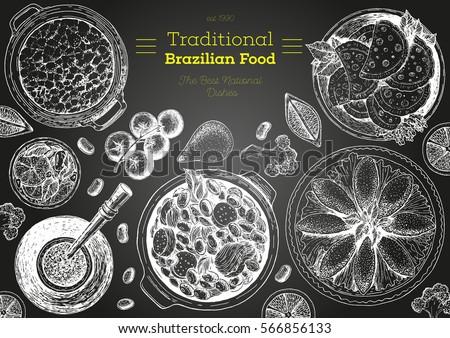 Brazilian cuisine top view frame. Brazilian food menu design. Vintage hand drawn sketch vector illustration