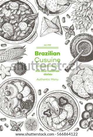 Brazilian cuisine top view frame. Brazilian food menu design. Vintage hand drawn sketch vector illustration #566864122