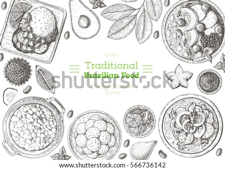 Brazilian cuisine top view frame. Brazilian food menu design with acai, feijoada, moqueca, farofa, pao de queijo. Vintage hand drawn sketch vector illustration.