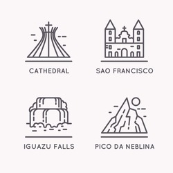 Brazilian culture linear icons set. Household items of the people and sights of the country.