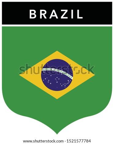 Brazilian Flag Badge Emblem Design