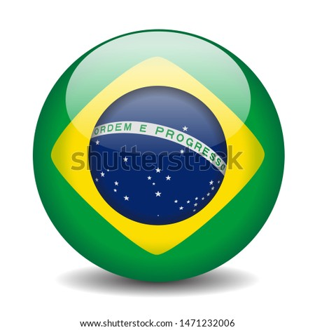 Brazilian Flag Icon in a Ball isolated on white background