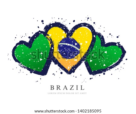 Brazilian flag in the form of three hearts. Vector illustration on white background. Brush strokes drawn by hand. Independence Day in Brazil.