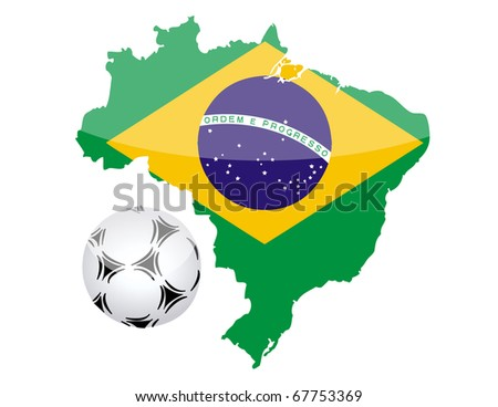 Brazilian flag map and normal soccer ball isolated over white background. vector file also available.