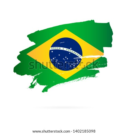 Brazilian flag. Vector illustration on white background. Brush strokes drawn by hand.