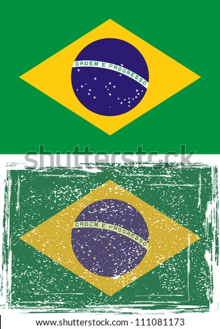 Brazilian grunge flag. Grunge effect can be cleaned easily.