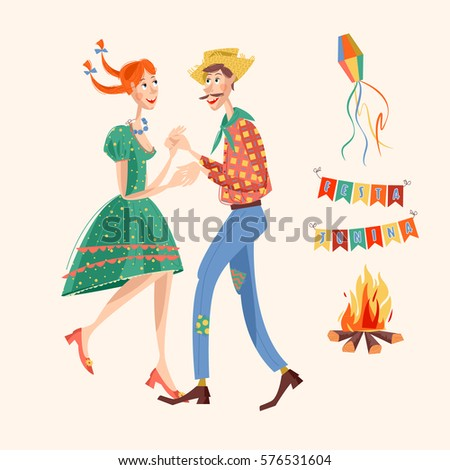 Brazilian holiday Festa Junina (the June party). Couple dancing traditional dance. Vector illustration.