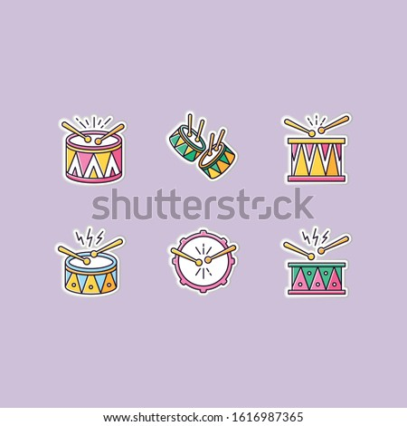Brazilian music printable patches. Drums with drumsticks. RGB color stickers, pins and badges set. Samba. Musical instrument. Brazilian carnival. Festive drum parade. Vector isolated illustrations