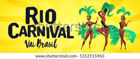 Brazilian samba banner. Carnival in Rio de Janeiro dancers wearing a festival costume is dancing. Vector illustration.