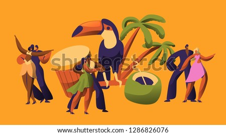 Brazilian Samba Carnival Dancer Latino Character. Bikini Woman Dance Tropical Cuban Salsa. Latin Man in Retro Costume have Fun at Happy Beach Cabaret Parade Flat Cartoon Vector Illustration