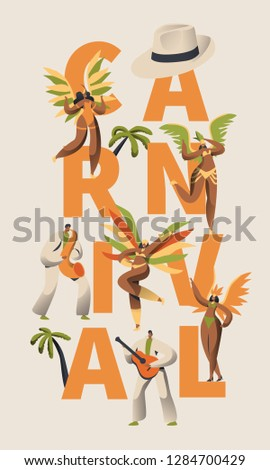 Brazilian Samba Carnival Latino Character Poster. Feather Bikini Woman Dance Tropical Salsa. Man in Retro Costume Play Guitar for Bright Cabare Festival Banner Design Flat Cartoon Vector Illustration