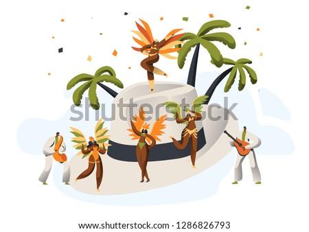 Brazilian Samba Carnival Latino Character Straw Hat. Bikini Feather Woman Dance Tropical Cuban Tango. Latin Man in Retro Costume have Fun at Happy Cabaret Festival Flat Cartoon Vector Illustration