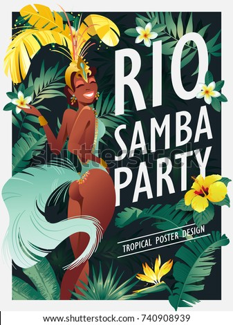 Brazilian samba dancer. Carnival in Rio de Janeiro girls wearing a festival costume is dancing. Vector illustration.