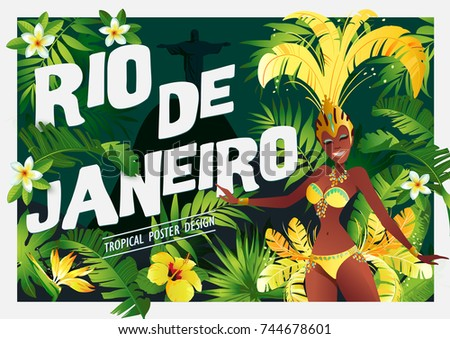 Brazilian samba dancer. Carnival in Rio de Janeiro girls wearing a festival costume is dancing. Vector illustration.